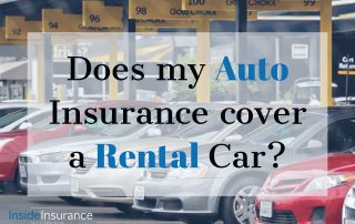 """alt=""""Silver, gray and red cars lined up on an gate lane with a note that says 'Does my Auto Insurance cover a rental Car'."""""""