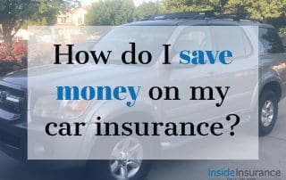 """alt=""""A silver car on the background with a note that says 'How do I save money on my car insurance'."""""""