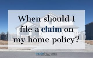 """alt=""""A white house on the background with a note that says 'When should I file a claim on my home policy'."""""""