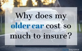 """alt=""""A car picture in the background with a note 'Why does my older car cost so much to insure'."""""""